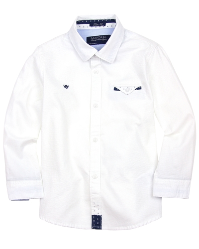 Mayoral Boy's White Shirt with Handkerchief
