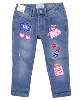 Mayoral Girl's Denim Pants with Appliques