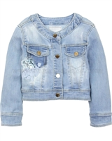 Mayoral Girl's Denim Jacket in Sand Wash