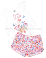 Mayoral Girl's Top and Floral Shorts Set