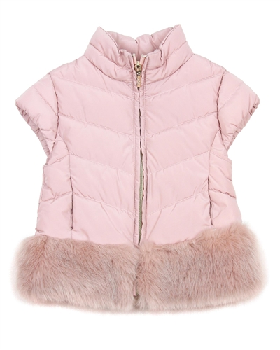 Mayoral Girl's Pink Puffer Vest with Fur