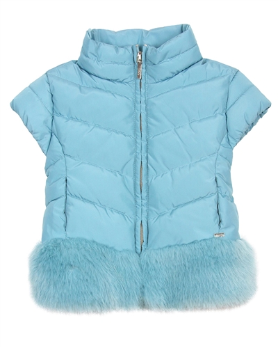 Mayoral Girl's Aqua Puffer Vest with Fur