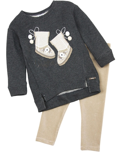 Mayoral Girl's Sweatshirt and Velour Leggings Set
