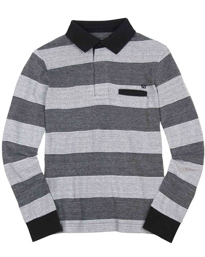 Mayoral Junior Boys' Black Striped Polo
