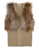 Mayoral Junior Girl's Rib Knit and Fur Vest
