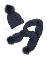 Mayoral Junior Girl's Cable Knit Hat and Scarf with Pompoms Indigo