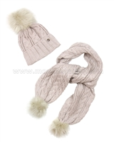 Mayoral Junior Girl's Cable Knit Hat and Scarf with Pompoms Beige