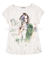 Mayoral Girl's T-shirt with Girls Print Beige