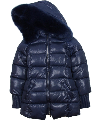 Mayoral Junior Girl's Navy Shiny Coat
