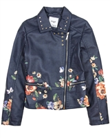 Mayoral Junior Girl's Floral Print Pleather Jacket
