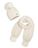 Mayoral Junior Girl's Ivory Cable Knit Hat an Scarf Set