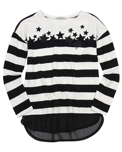 Mayoral Junior Girl's Striped Top with Stars