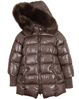 Mayoral Junior Girl's Dark Taupe Shiny Coat