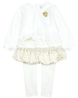 Petit Lem Signature Little Girl's Top and Skirted Leggings  Classy and Cute
