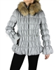 Silolona Women's Wool Puffer Jacket with Fur Trim