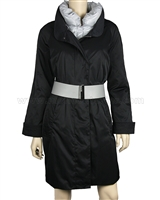 Silolona Women's Goose Down Trench Coat Black