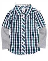 s.Oliver Baby Boys' Plaid Shirt with Jersey Sleeves