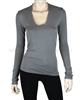 Siste's Women's Deep Scoop Neck Top Gray