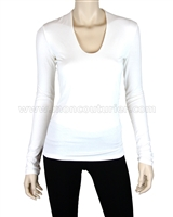 Siste's Women's Deep Scoop Neck Top White
