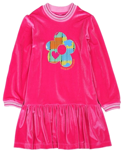 Agatha Ruiz de la Prada Velour Dress with Flower Applique