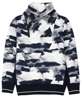 Bellaire Junior Boys Cloud Print Sweater with Collar