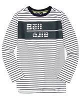 Bellaire Junior Boys Striped T-shirt with Logo Print