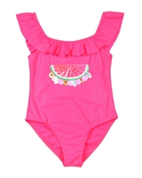 Billyblush Swimsuit with Flounce in Fuchsia