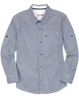 Boboli Boys Dress Shirt in Small Dot Blue