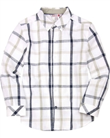 Boboli Boys Long Sleeve Linen Plaid Shirt