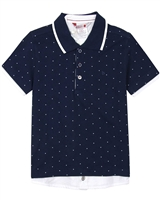 Boboli Boys Short Sleeve Polka Dot Polo
