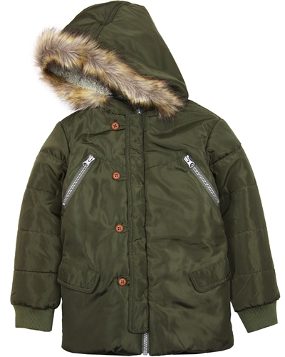Boboli Boys Hooded Parka Coat in Olive