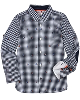 Boboli Boys Check Dress Shirt with Yachts Print