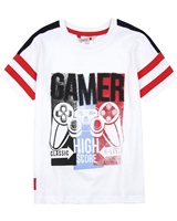 Boboli Boys Gamer T-shirt with Striped Sleeves