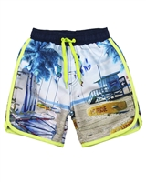 Boboli Boys Swim-shorts in All-over Beach Print