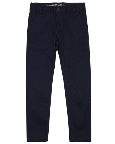 Boboli Boys Stretch Satin Twill Pants in Navy