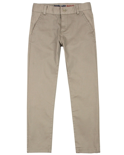 Boboli Boys Stretch Satin Twill Pants in Beige