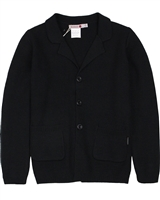 Boboli Boys Button Front Knit Cardigan in Black