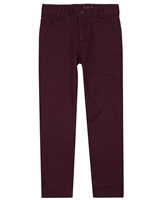 Boboli Boys Stretch Satin Twill Pants in Burgundy