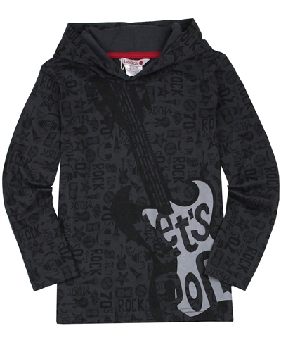 Boboli Boys Hooded T-shirt with Guitar Print