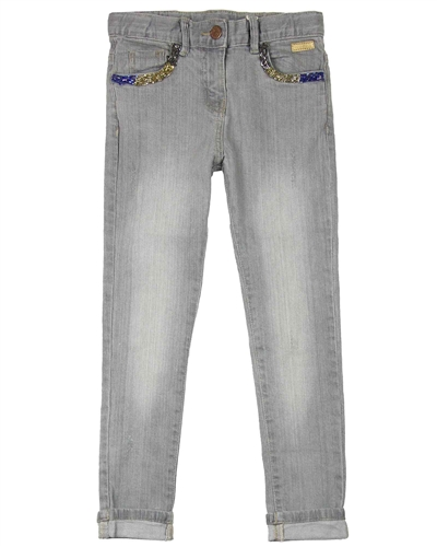 Boboli Denim Pants with Beads