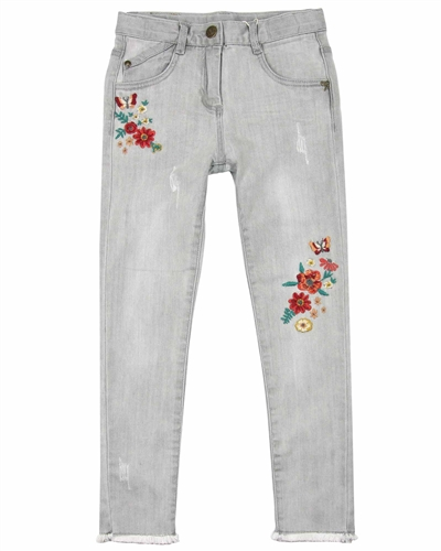 Boboli Denim Pants with Flowers