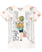 Boboli Girls T-shirt with City Flowers Print