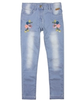 Boboli Girls Denim Pants with Floral Embroidery