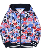 Boboli Girls Floral Print Hooded Cardigan