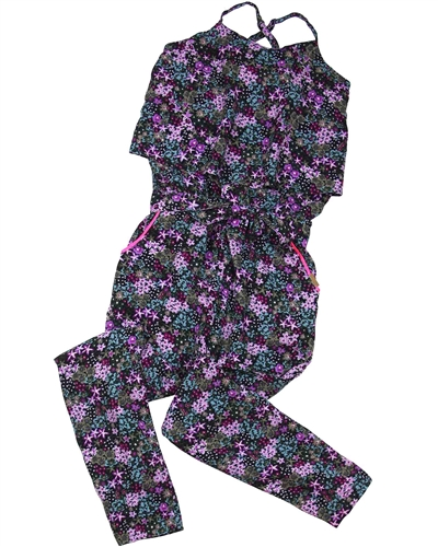 Boboli Girls Jumpsuit in Tropical Flowers Print