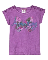 Boboli Girls T-shirt with Eyelet Shoulder Inserts