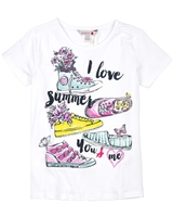 Boboli Girls T-shirt with Summer Sneakers Print