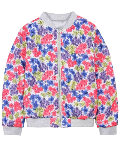 Boboli Girls Reversible Cardigan in Satin and Floral Print