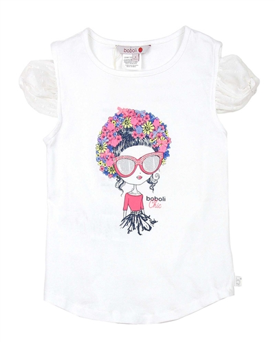 Boboli Girls T-shirt with Chiffon Flowers Applique