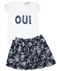 Boboli Girls Embellished Top and Floral Skirt Set